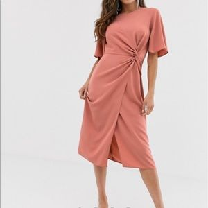 ASOS twist front midi dress terra-cotta NWT sz 8